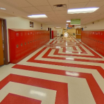Hallway of the Academia Cesar Chavez Middle School. Click for a virtual tour.