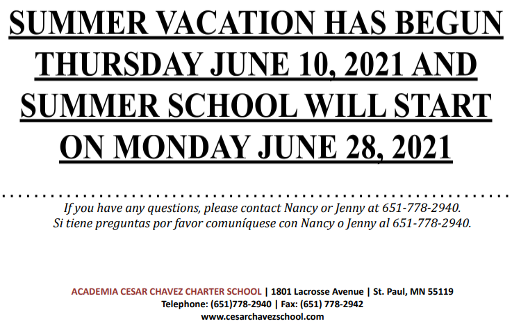 Important Announcement: Summer Vacation and Summer School Dates